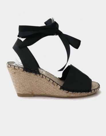 Maslinda Designs Low Wedge Leather Espadrilles Βlack