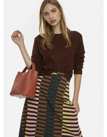 BROWN RIBBED KNIT JUMPER-5