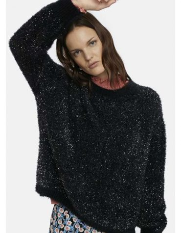 Black Fluffy Jumper In Lurex-5