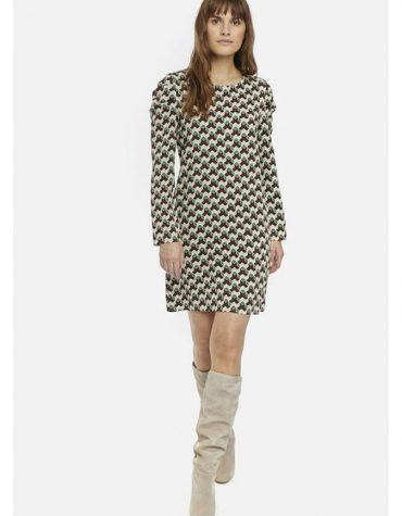 RETRO GEOMETRIC PRINT SMOCK DRESS