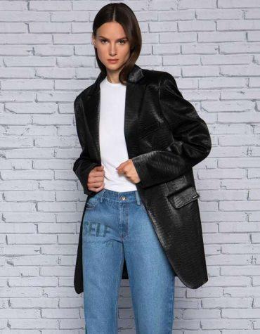 Street style eco leather blazer