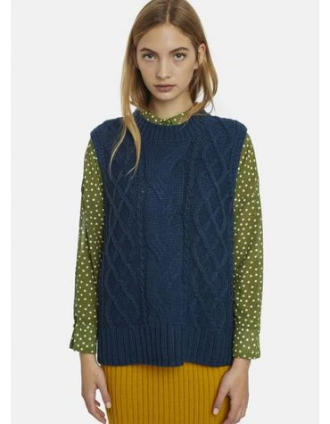 blue Cable-Knit Waistcoat-1