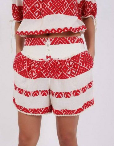 Pearl and Caviar Boho Greek Chic Zakar Shorts Red