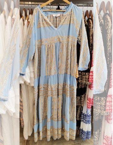 GREEK ARCHAIC KORI Embroidered Maxi Dress Σιελ