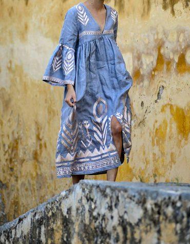 GREEK ARCHAIC KORI Embroidered Maxi Dress BluePink