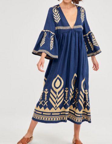 GREEK ARCHAIC KORI Embroidered Maxi Dress Navy BlueGold 1