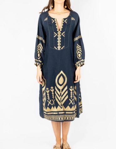 GREEK ARCHAIC KORI Embroidered Midi Dress Navy Blue 1