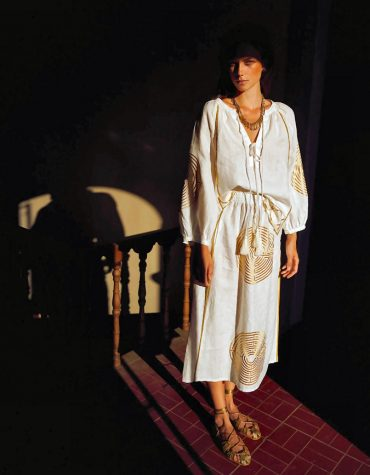 GREEK ARHAIC KORI Capri WhiteGold Trousers 1