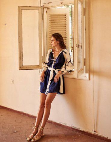 GREEK ARHAIC KORI Embroidered Handmade Mini Bohemian Dress
