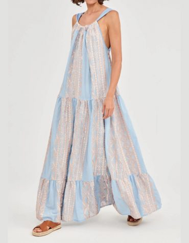GREEK ARHAIC KORI Embroidered Light Blue Maxi Dress