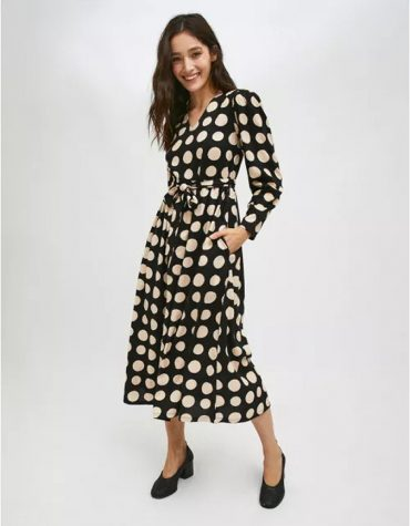Compania Fantastica Black And White Polka Dot Print Midi Dress With Belt 4
