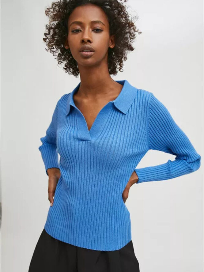 Compania Fantastica Blue Fitted Ribbed Knit Jumper With Polo Neck 1