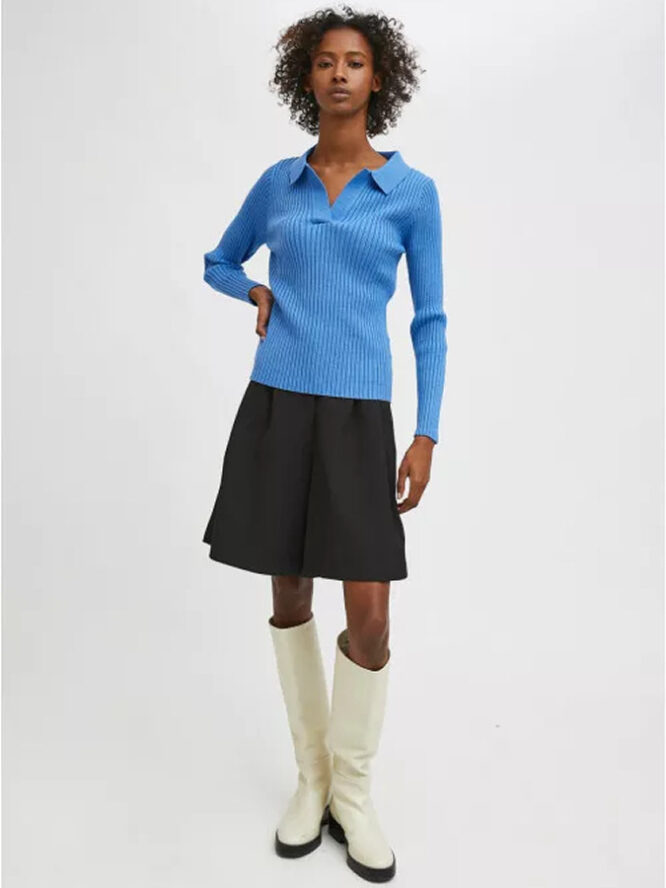 Compania Fantastica Blue Fitted Ribbed Knit Jumper With Polo Neck 2