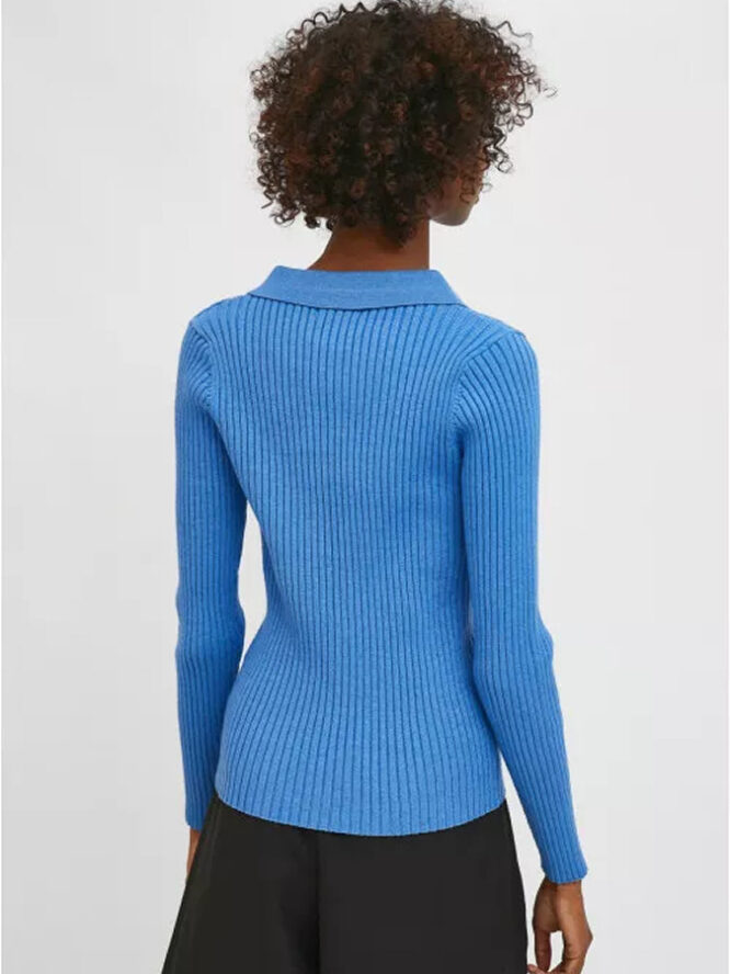 Compania Fantastica Blue Fitted Ribbed Knit Jumper With Polo Neck 4