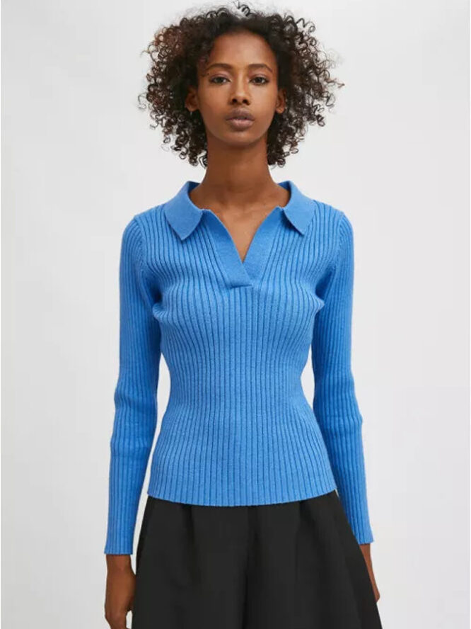 Compania Fantastica Blue Fitted Ribbed Knit Jumper With Polo Neck 5