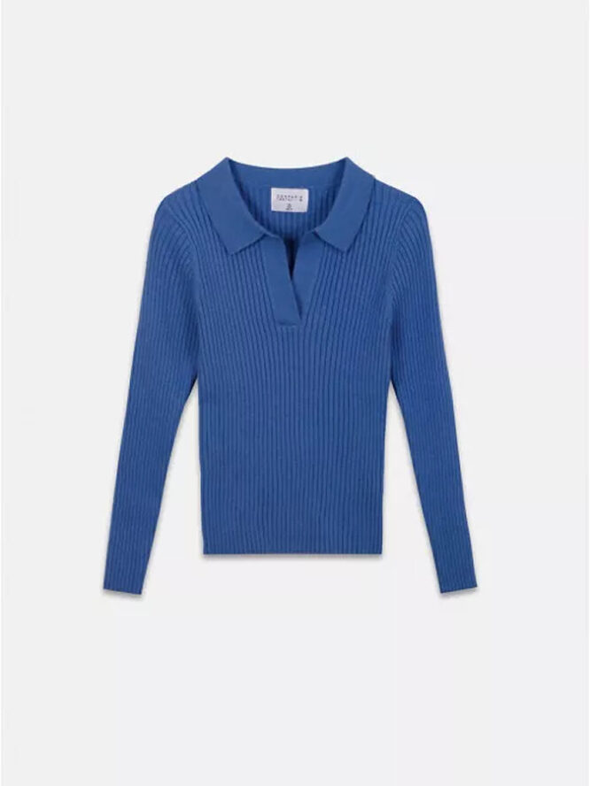 Compania Fantastica Blue Fitted Ribbed Knit Jumper With Polo Neck