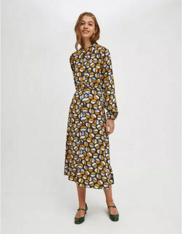 Compania Fantastica Coffee Bean Print Midi Shirt Dress 5