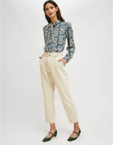 Compania Fantastica Floral Chrysanthemum Print Blouse With Bow Collar 3