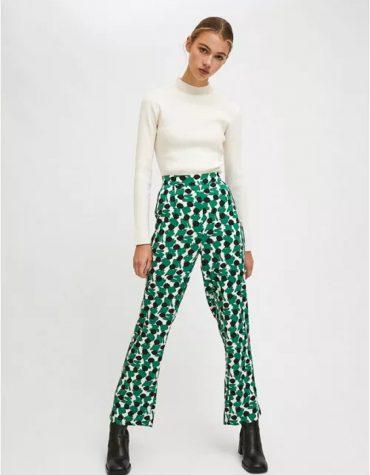 Compania Fantastica Green Geometric Print Lightweight Straight Leg Trousers 4
