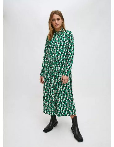 Compania Fantastica Green Geometric Print Midi Shirt Dress 4