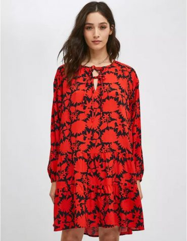 Compania Fantastica Red And Black Floral Print Mini Smock Dress With Tiers 5