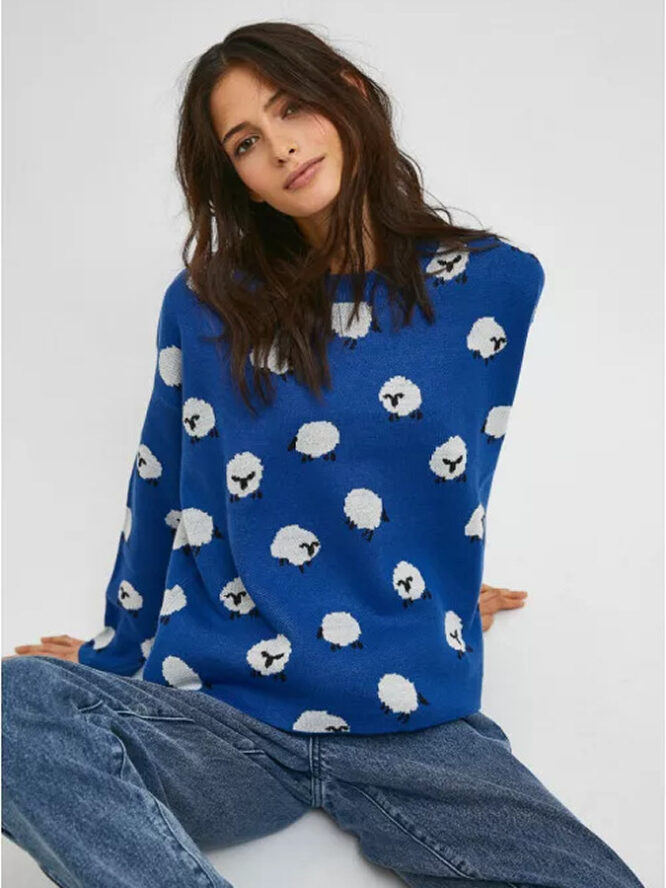 Compania Fantastica Sheep Print Oversized Knit Jumper With Round Neck 1