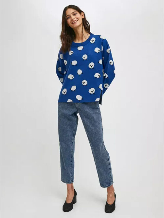 Compania Fantastica Sheep Print Oversized Knit Jumper With Round Neck 2