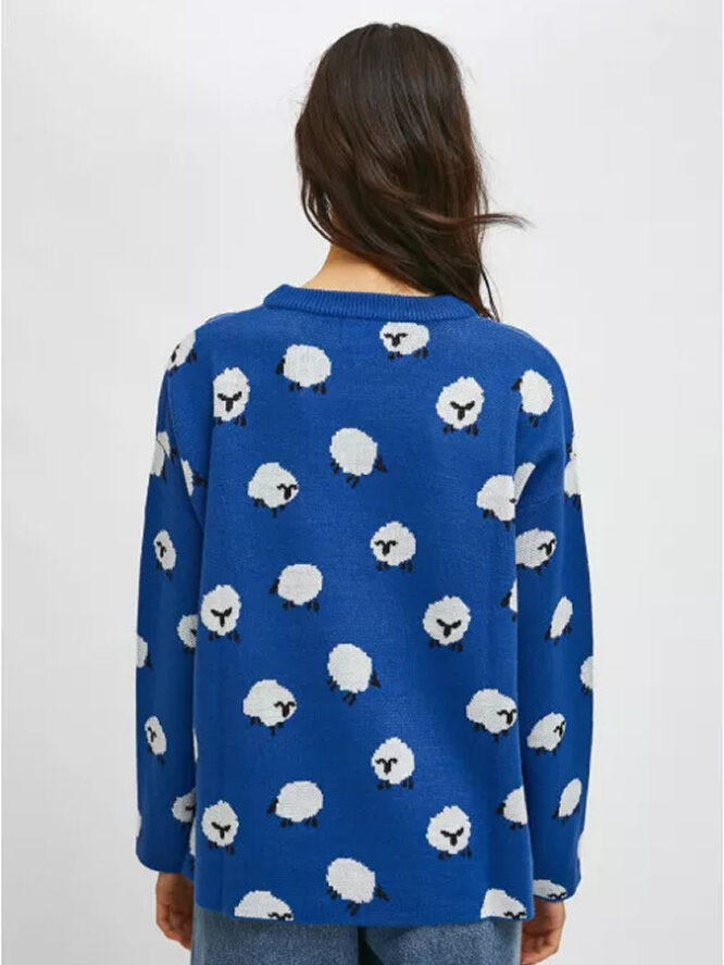 Compania Fantastica Sheep Print Oversized Knit Jumper With Round Neck 4