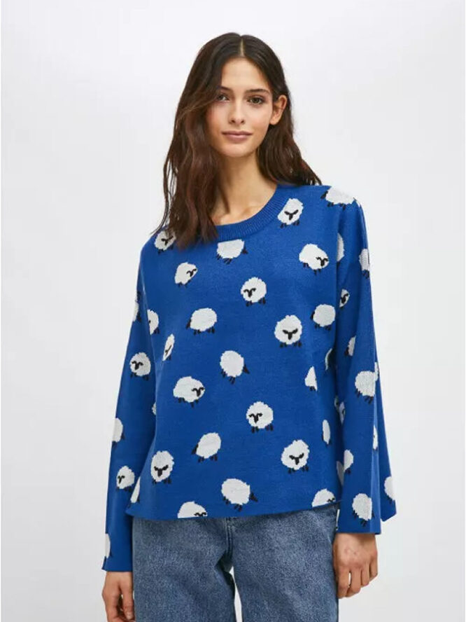 Compania Fantastica Sheep Print Oversized Knit Jumper With Round Neck 5