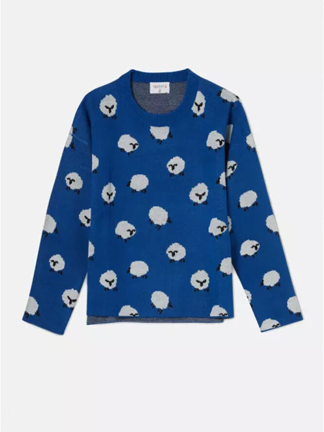 Compania Fantastica Sheep Print Oversized Knit Jumper With Round Neck