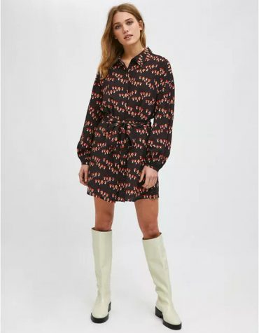 Compania Fantastica Toadstool Print Mini Shirt Dress With Belt 2