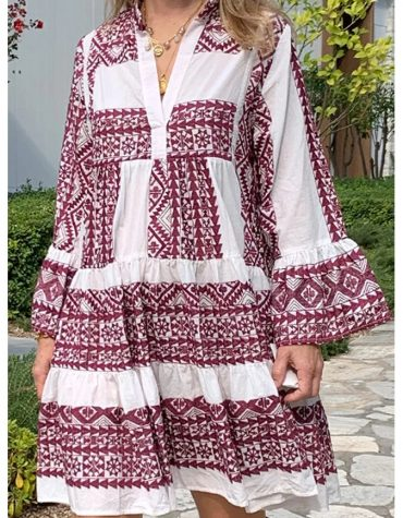 GREEK ARCHAIC KORI Short Embroidered Dress White