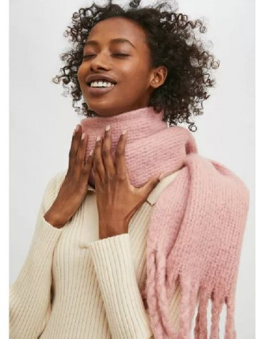 Compania Fantastica Pink Soft Knitted Scarf With Fringe Detail 1