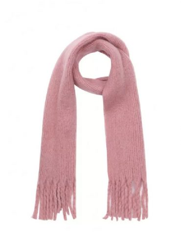 Compania Fantastica Pink Soft Knitted Scarf With Fringe Detail