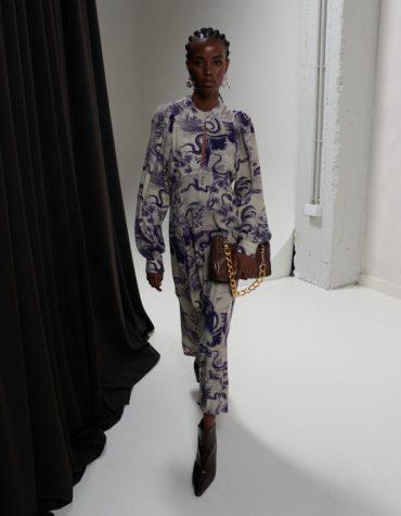 MILKWHITE Open Back Printed Midi Dress 4