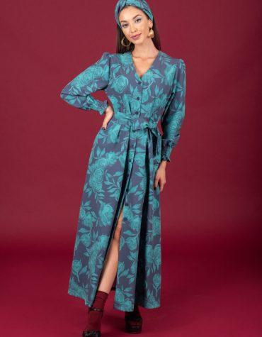 CHATON Rose dress Green Blue