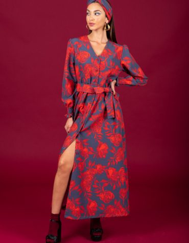 CHATON Rose dress Red Blue 2