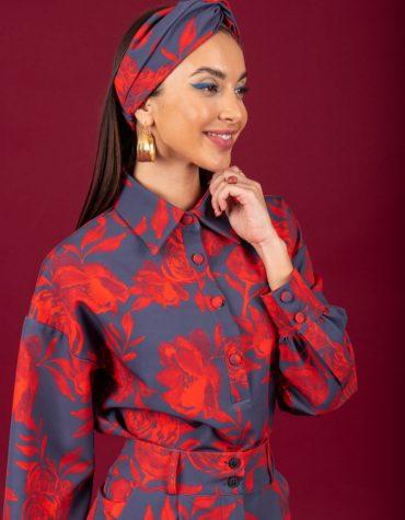 CHATON Rose shirt Red Blue