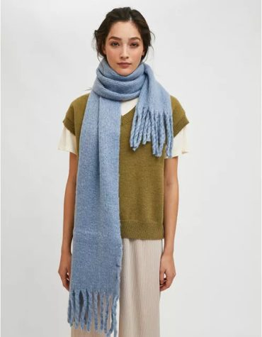 Compania Fantastica Light Blue Soft Knitted Scarf With Fringe Detail 1