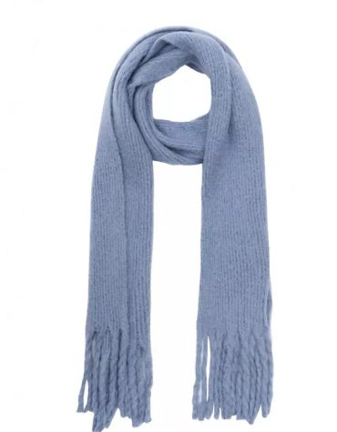 Compania Fantastica Light Blue Soft Knitted Scarf With Fringe Detail