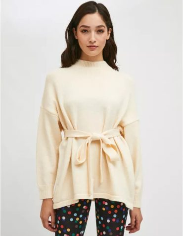 Compania Fantastica White High Neck Knit Jersey With Belt 2