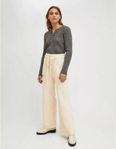 Compania Fantastica White Ribbed Knit High Waisted Straight Cut Trousers With Pockets 5