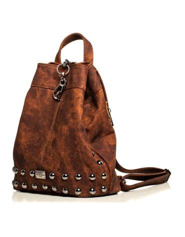 ELENA ATHANASIOU Backpack Jean Pattern BrownSilver 1