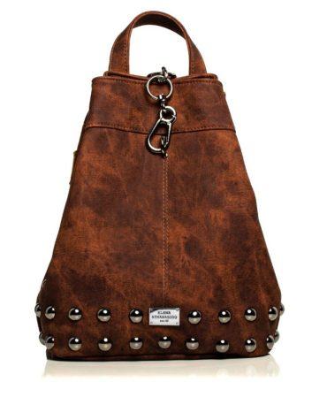 ELENA ATHANASIOU Backpack Jean Pattern BrownSilver