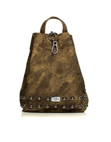 ELENA ATHANASIOU Backpack Jean Pattern Olive Gold 1