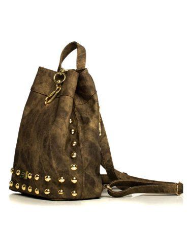 ELENA ATHANASIOU Backpack Jean Pattern Olive Gold 2
