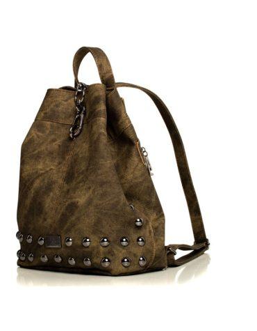 ELENA ATHANASIOU Backpack Jean Pattern Olive Gold 3