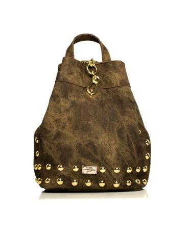 ELENA ATHANASIOU Backpack Jean Pattern Olive Gold