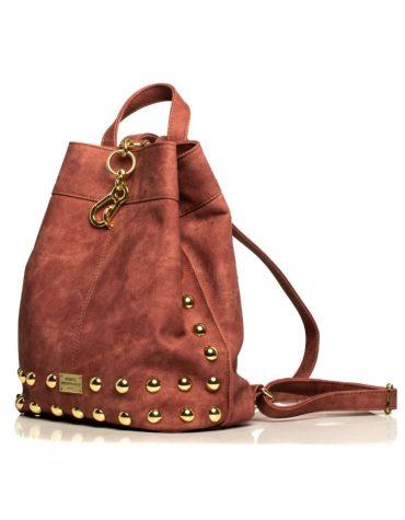 ELENA ATHANASIOU Backpack Jean Pattern Pink Gold 2
