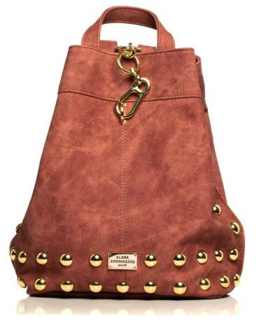 ELENA ATHANASIOU Backpack Jean Pattern Pink Gold